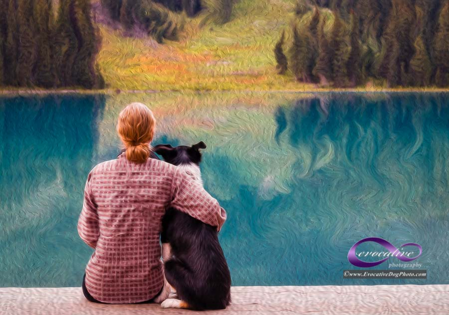 fine art evocative impressions people and pet portraiture by evocative dog photography at emerald lake british columbia