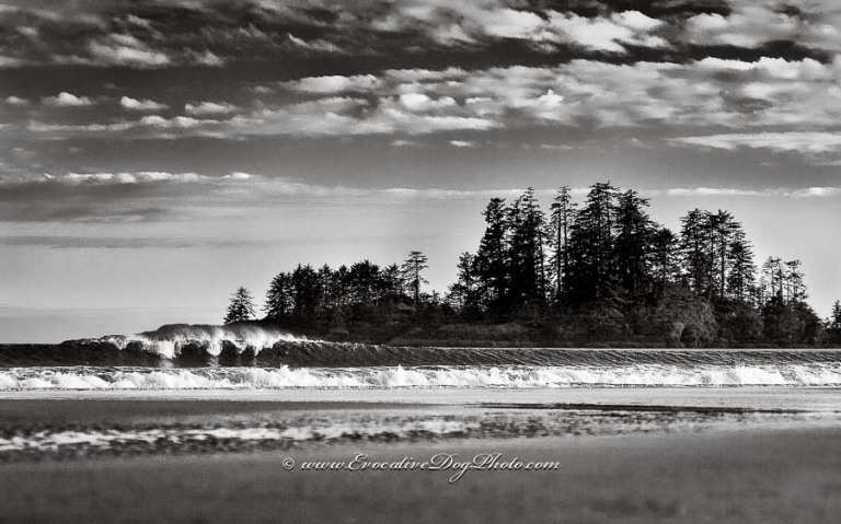 duotoned fine art black and white photograph of the pacific surf at long beach near tofino, vancouver island. british columbia by evocative photography of calgary